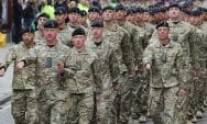 British Army marching toward Court martial